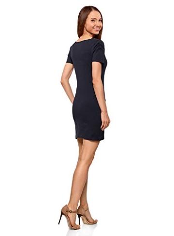 oodji Ultra Damen Enges Kleid mit V-Ausschnitt, Blau, DE 36 / EU 38 / S - 2