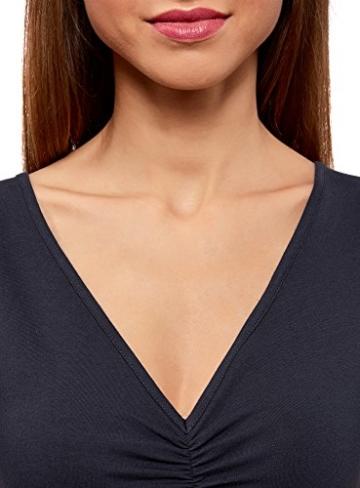 oodji Ultra Damen Enges Kleid mit V-Ausschnitt, Blau, DE 36 / EU 38 / S - 3