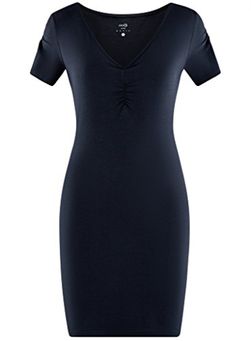 oodji Ultra Damen Enges Kleid mit V-Ausschnitt, Blau, DE 36 / EU 38 / S - 6
