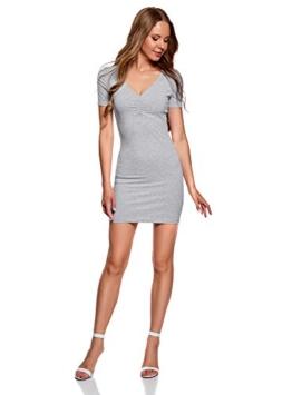 oodji Ultra Damen Enges Kleid mit V-Ausschnitt, Grau, DE 40 / EU 42 / L - 1
