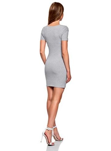 oodji Ultra Damen Enges Kleid mit V-Ausschnitt, Grau, DE 40 / EU 42 / L - 2