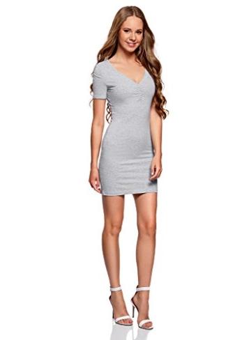 oodji Ultra Damen Enges Kleid mit V-Ausschnitt, Grau, DE 40 / EU 42 / L - 5