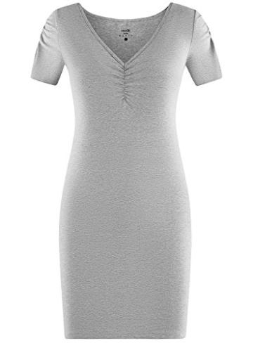 oodji Ultra Damen Enges Kleid mit V-Ausschnitt, Grau, DE 40 / EU 42 / L - 6