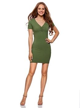 oodji Ultra Damen Enges Kleid mit V-Ausschnitt, Grün, DE 32 / EU 34 / XXS - 1