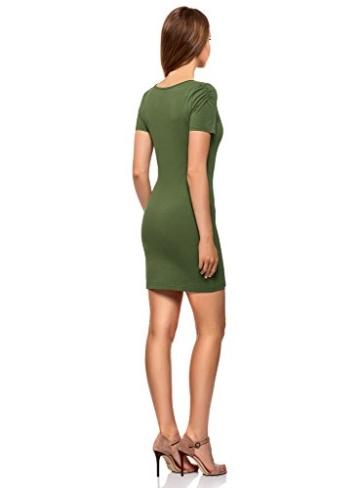 oodji Ultra Damen Enges Kleid mit V-Ausschnitt, Grün, DE 32 / EU 34 / XXS - 2