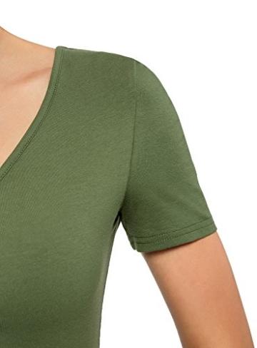 oodji Ultra Damen Enges Kleid mit V-Ausschnitt, Grün, DE 32 / EU 34 / XXS - 4
