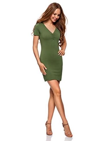 oodji Ultra Damen Enges Kleid mit V-Ausschnitt, Grün, DE 32 / EU 34 / XXS - 5