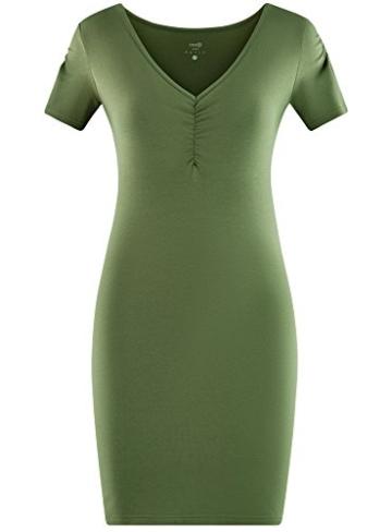 oodji Ultra Damen Enges Kleid mit V-Ausschnitt, Grün, DE 32 / EU 34 / XXS - 6