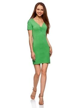 oodji Ultra Damen Enges Kleid mit V-Ausschnitt, Grün, DE 36 / EU 38 / S - 1