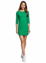 oodji Ultra Damen Jersey-Kleid Basic Grün 1