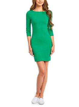 oodji Ultra Damen Jersey-Kleid Basic, Grün, DE 38 / EU 40 / M - 1