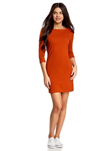 oodji Ultra Damen Jersey-Kleid Basic, Orange, DE 38 / EU 40 / M - 1