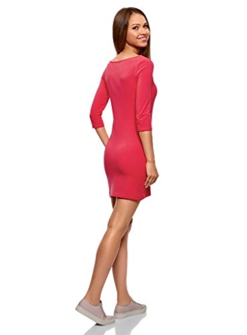 oodji Ultra Damen Jersey-Kleid Basic, Rosa, DE 32 / EU 34 / XXS - 2
