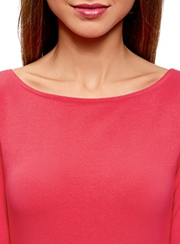 oodji Ultra Damen Jersey-Kleid Basic, Rosa, DE 32 / EU 34 / XXS - 3