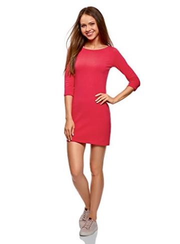 oodji Ultra Damen Jersey-Kleid Basic, Rosa, DE 32 / EU 34 / XXS - 5