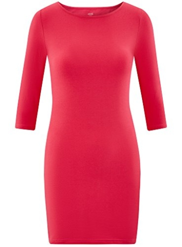 oodji Ultra Damen Jersey-Kleid Basic, Rosa, DE 32 / EU 34 / XXS - 6