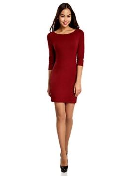 oodji Ultra Damen Jersey-Kleid Basic, Rot, DE 36 / EU 38 / S - 1