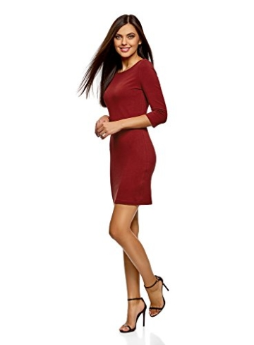 oodji Ultra Damen Jersey-Kleid Basic, Rot, DE 42 / EU 44 / XL - 5