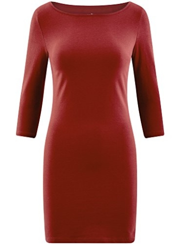 oodji Ultra Damen Jersey-Kleid Basic, Rot, DE 42 / EU 44 / XL - 6