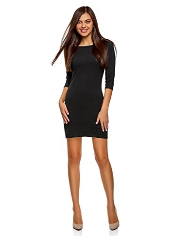 oodji Ultra Damen Jersey-Kleid Basic, Schwarz, DE 40 / EU 42 / L - 1