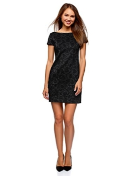 oodji Ultra Damen Jersey-Kleid mit Flockdruck, Schwarz, DE 38 / EU 40 / M - 1