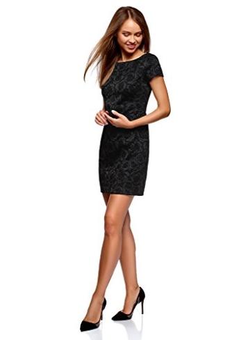 oodji Ultra Damen Jersey-Kleid mit Flockdruck, Schwarz, DE 38 / EU 40 / M - 5