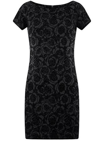 oodji Ultra Damen Jersey-Kleid mit Flockdruck, Schwarz, DE 38 / EU 40 / M - 6