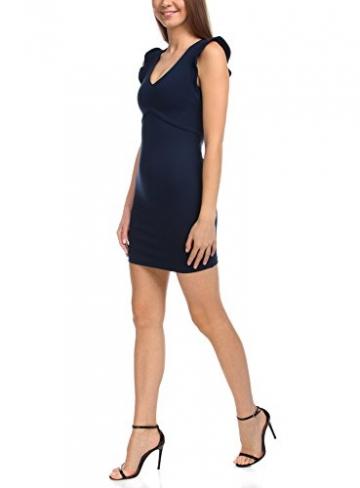 oodji Ultra Damen Jerseykleid mit V-Ausschnitt, Blau, S / EU 38 (DE 36) -
