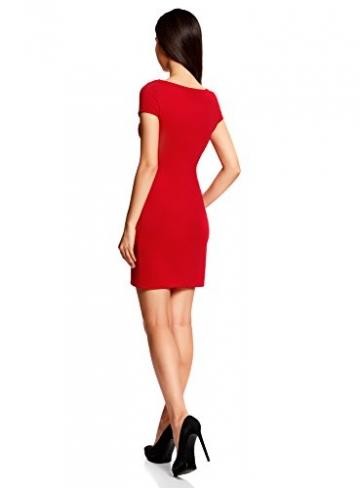 oodji Ultra Damen Kleid aus Strukturiertem Stoff mit U-Boot-Ausschnitt, Rot, DE 38 / EU 40 / M -