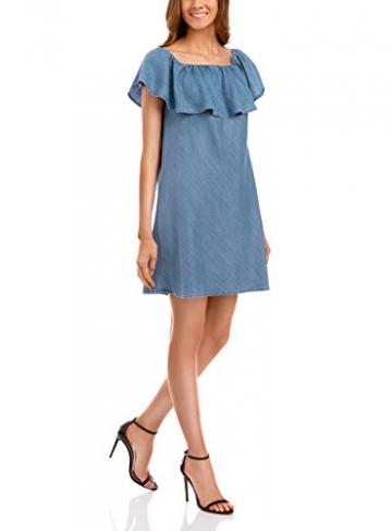 oodji Ultra Damen Schulterfreies Lyocell-Kleid, Blau, XS / EU 36 (DE 34) -