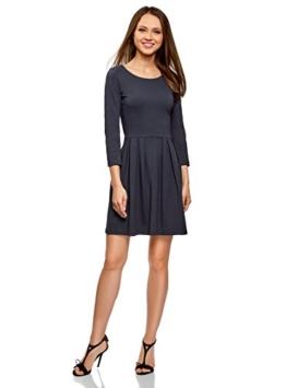 oodji Ultra Damen Tailliertes Jersey-Kleid, Blau, DE 32 / EU 34 / XXS - 1