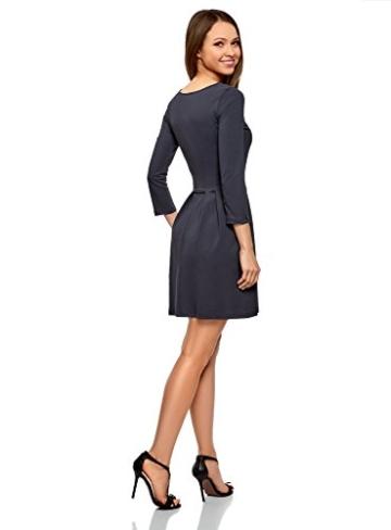oodji Ultra Damen Tailliertes Jersey-Kleid, Blau, DE 32 / EU 34 / XXS - 2