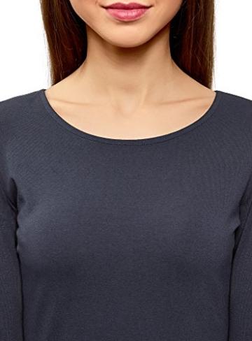 oodji Ultra Damen Tailliertes Jersey-Kleid, Blau, DE 32 / EU 34 / XXS - 3