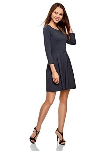 oodji Ultra Damen Tailliertes Jersey-Kleid, Blau, DE 32 / EU 34 / XXS - 5