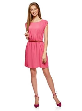 oodji Ultra Damen Viskose-Kleid mit Gürtel, Rosa, DE 38 / EU 40 / M - 1