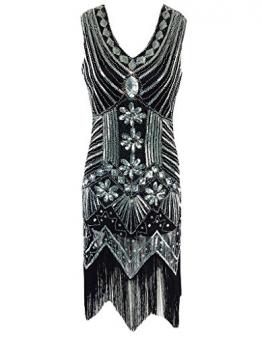 OOFIT Damen 1920er Gatsby Pailletten Kleider, V-Ausschnitt Perlen Franse Flapper Charleston Kleid, Schwarz, Gr.XL(EU42) -