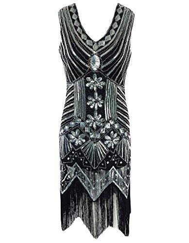 OOFIT Damen 1920er Gatsby Pailletten Kleider, V-Ausschnitt Perlen Franse  Flapper Charleston Kleid - Sexy-Kleider.com 6cfea9a7a2