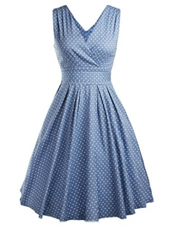 OOFIT Damen 50s Retro vintage Rockabilly kleid, Party, Cocktailkleider, Blau Dots, Gr.L (EU 40) -