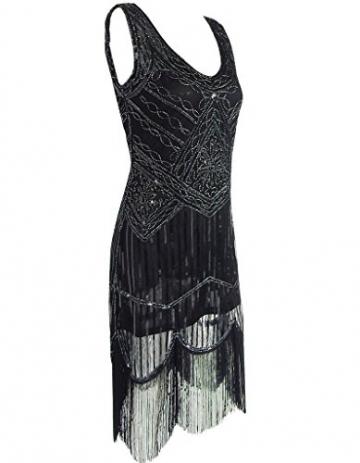 OOFIT Damen Weinlese 1920 Pailletten Perlen Double Sided ausgebogter Rand Flapper Kleid abendkeid Gr. 42 -