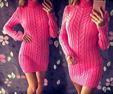 ORANDESIGNE Damen Elegant Pulloverkleid Strickkleid Tunika Kleid V-Ausschnitt Langarm Minikleid Mit Gürtel Rosa DE 40 - 2