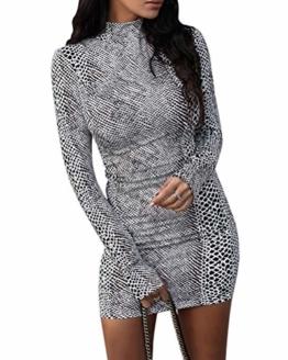 ORANDESIGNE Damen Kleid Herbst Langarm Rollkragen Schlangen Druckn Slim Fit Kleider Sexy Bodycon Cocktail Minikleid Weiß 34 - 1