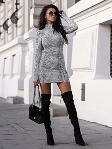 ORANDESIGNE Damen Kleid Herbst Langarm Rollkragen Schlangen Druckn Slim Fit Kleider Sexy Bodycon Cocktail Minikleid Weiß 34 - 3