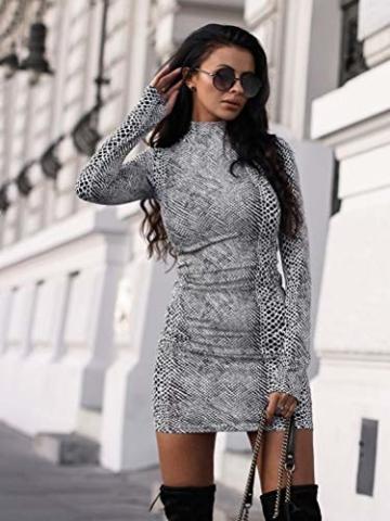 ORANDESIGNE Damen Kleid Herbst Langarm Rollkragen Schlangen Druckn Slim Fit Kleider Sexy Bodycon Cocktail Minikleid Weiß 34 - 4