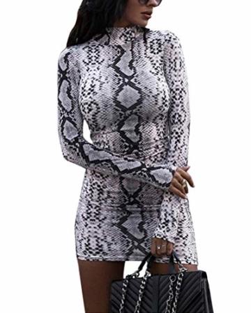 ORANDESIGNE Damen Kleid Herbst Langarm Rollkragen Schlangen Druckn Slim Fit Kleider Sexy Bodycon Cocktail Minikleid Grau 34 - 1