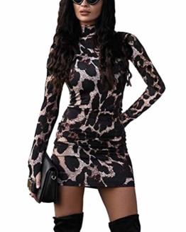 ORANDESIGNE Damen Kleid Herbst Langarm Rollkragen Schlangen Druckn Slim Fit Kleider Sexy Bodycon Cocktail Minikleid Leopard 34 - 1