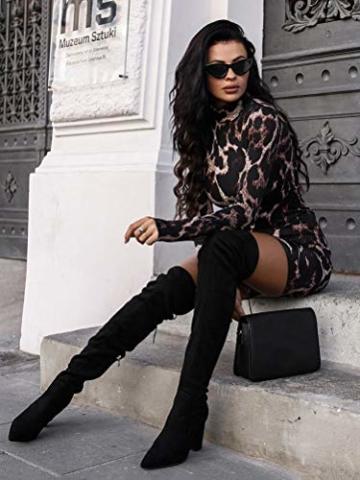 ORANDESIGNE Damen Kleid Herbst Langarm Rollkragen Schlangen Druckn Slim Fit Kleider Sexy Bodycon Cocktail Minikleid Leopard 34 - 4