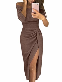 ORANDESIGNE Damen Off Shoulder Kleider für Hochzeit Sexy Elegant Maxikleider Glänzend Hoch Geschnitten Abendkleider Cocktailkleid Braun DE 42 - 1