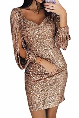ORANDESIGNE Damen Schulterfreies Kleid als Abendkleid Partykleid Silvester Neujahr Brautjungfer Hochzeit Maxikleid elegant glänzend und hoch geschnitten Gold DE 36 - 1