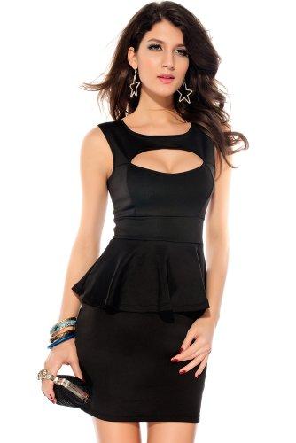 Ostenx KLEINE COCKTAILKLEID MINIKLEID ABENDKLEID PARTYKLEID KLEID Dress Club Hohle-heraus Brust Schößchen KleidGr. S/M 36 38 (Schwarz) - 1