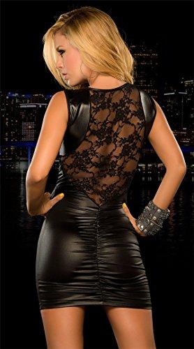 Ostenx Sexy Maxikleid Abendkleid Partykleid Elegant Pailletten Auffällig PU Leder V-Ausschnitt Transparent Häkelspitze-Leder-Wäsche (Schwarz) -